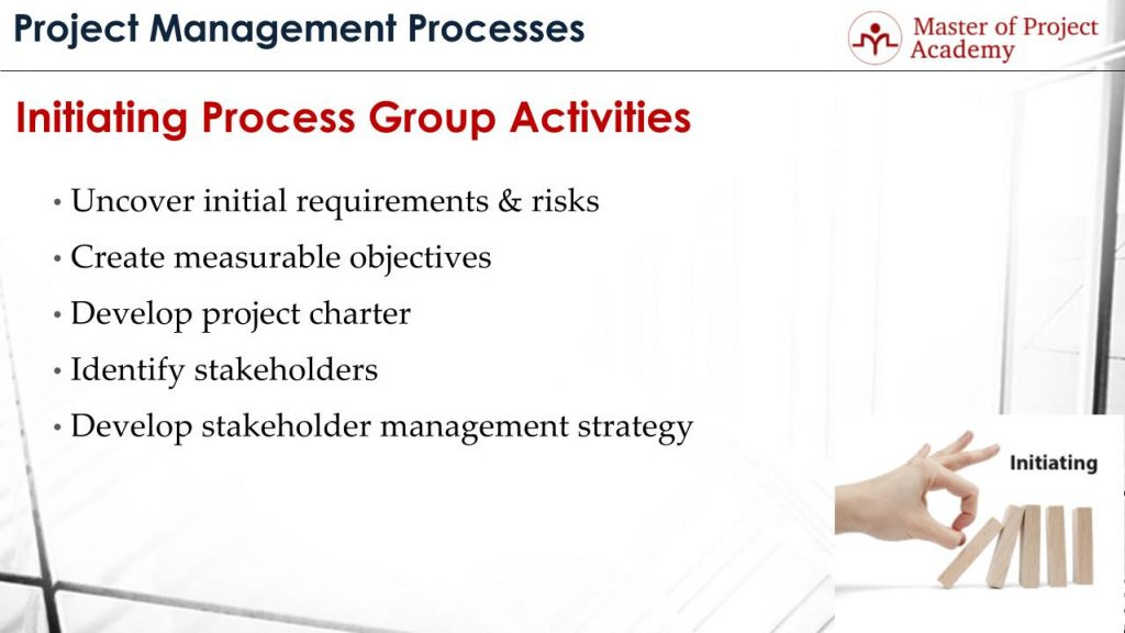 five project management process groups