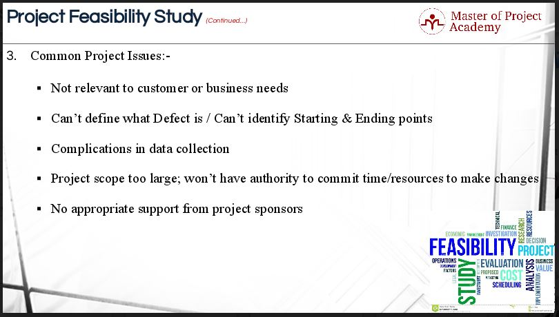 5 areas of a project feasibility study in six sigma master of common organizational or project issues for success for completing the project feasibility study flashek Gallery
