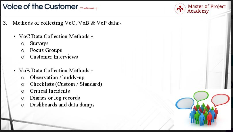 1.26-slide 3 Methods for Collecting for Voice of Customer (VoC Six Sigma) Data