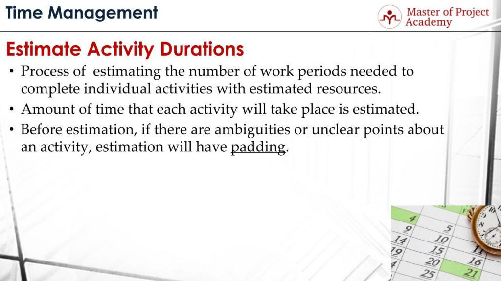 estimate activity durations